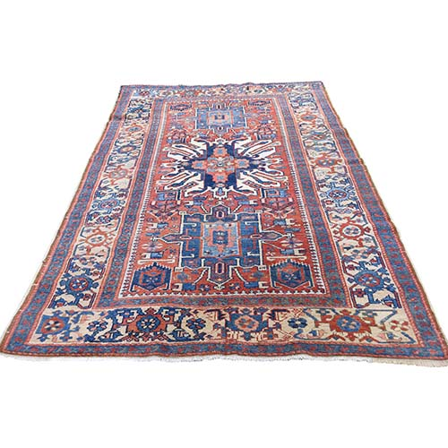 Antique Persian Karajeh Heriz Exc Condition Pure Wool Wide Runner Hand-Knotted Oriental