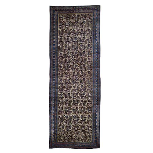 Antique Persian Gallery Size Runner Bijar Pure Wool Hand-Knotted Oriental Rug