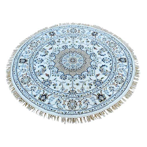 Round Hand-Knotted Wool And Silk 250 Kpsi Ivory Nain Rug