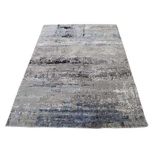 Hi-Low Pile Abstract Design Wool And Silk Hand-Knotted Oriental Rug