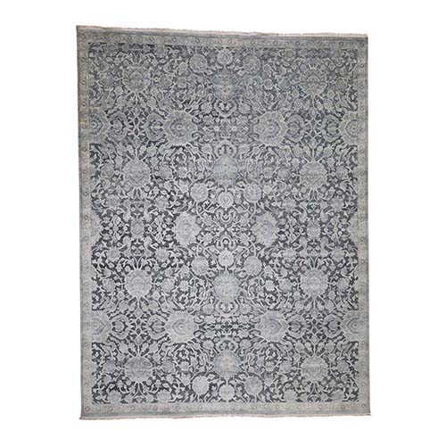 Oushak Influence Pure Silk With Textured Wool Hand-Knotted Rug
