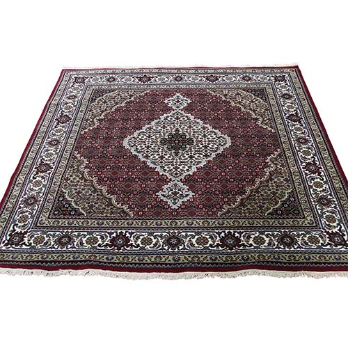 Hand-Knotted Wool And Silk Tabriz Mahi Square Oriental Rug