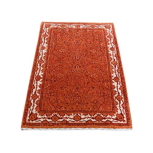 Orange Tone on Tone Hand Knotted Wool and Silk Kashan Oriental