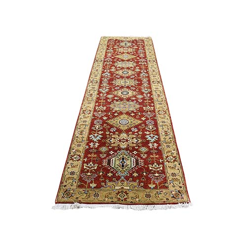 Hand-Knotted Runner Karajeh Design Pure Wool Oriental Rug