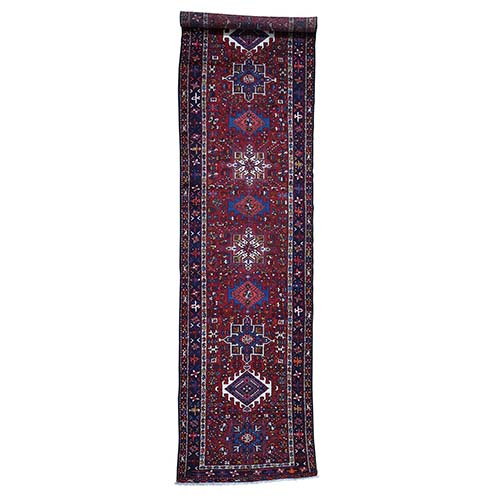 Semi Antique Persian Karajeh Pure Wool Wide Runner Hand-Knotted Oriental