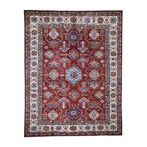 Super Kazak Pure Wool Geometric Design Hand-Knotted Oriental Rug