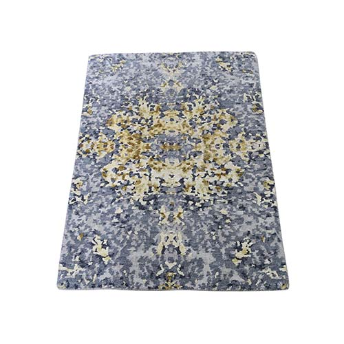 Abstract Design Wool And Silk Hand-Knotted Modern Oriental Rug Mat