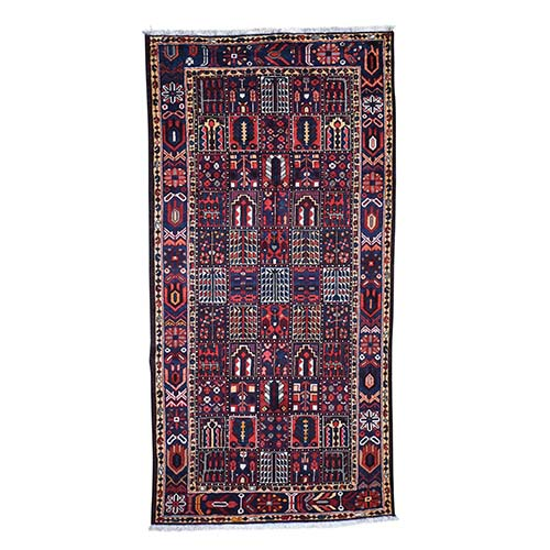 Semi Antique Persian Bakhtiari Garden Design Wide Runner Hand-Knotted Oriental