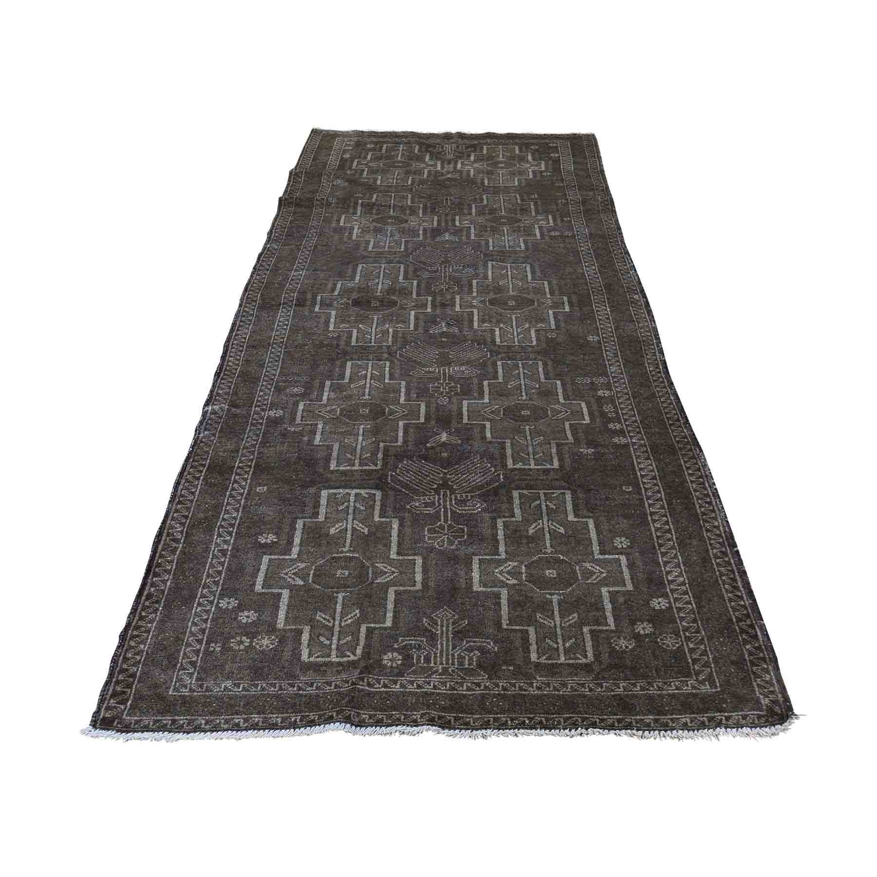 Washed Out Pure Wool Afghan Baluch Wide Runner Hand Knotted Oriental Rug 220730