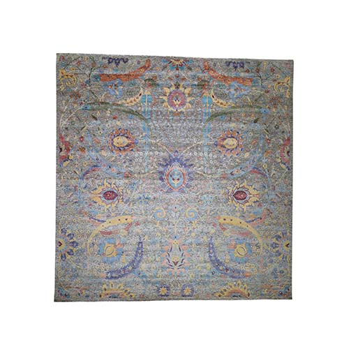 Square Hand-Knotted Sickle Leaf Design Silk With Textured Wool Oriental Rug