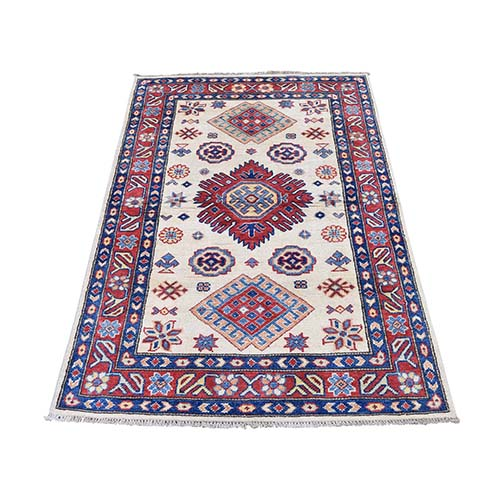 Special Kazak Pure Wool Hand-Knotted Geometric Design Oriental