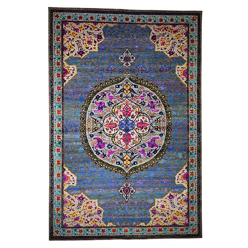 Star Oushak Medallion Design With Colorful Sari Silk Hand-Knotted Oriental Rug