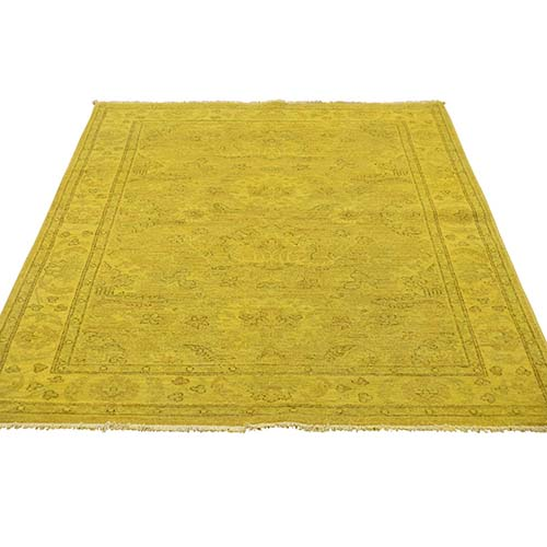 Yellow Overdyed Peshawar Hand-Knotted Pure Wool Oriental