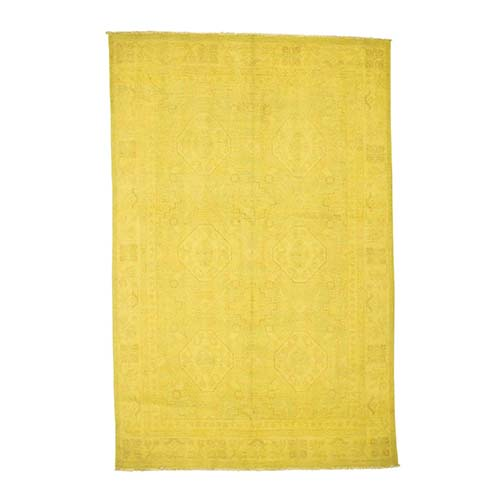 Pure Wool Overdyed Peshawar Yellow Hand Knotted Oriental Rug