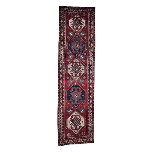 Semi Antique Persian Northeast With Ancient Birds Pure Wool Wide Runner Hand-Knotted Oriental