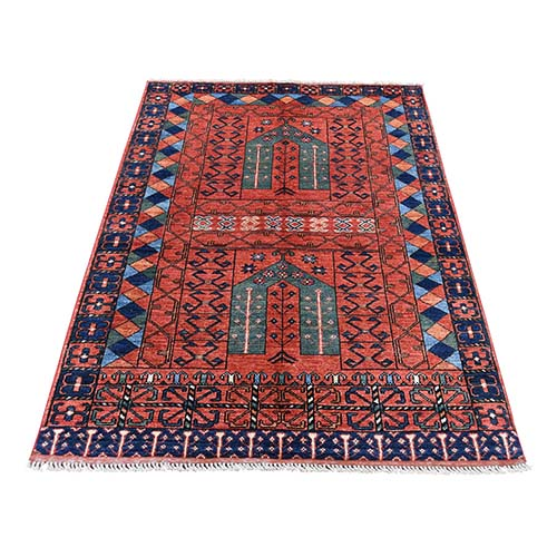 Afghan Ersari Hutchlu Design Pure Wool Hand-Knotted Oriental
