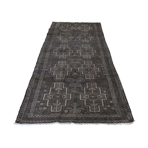 Washed Out Pure Wool Afghan Baluch Wide Runner Hand-Knotted Oriental