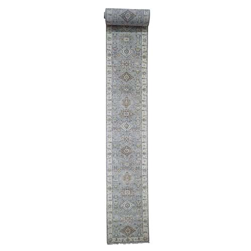 Karajeh Design Pure Wool Hand-Knotted XL Runner Oriental