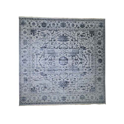 Square Silver Heriz Design Wool And Silk Hi-lo Pile Hand-Knotted Oriental