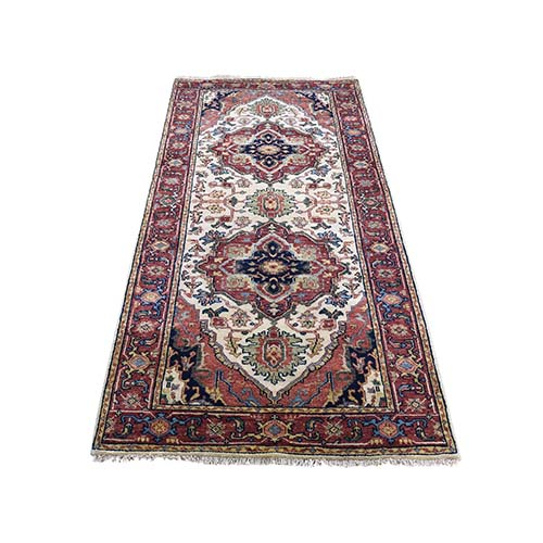 Antiqued Heriz Re-creation Short Runner Hand Knotted Oriental