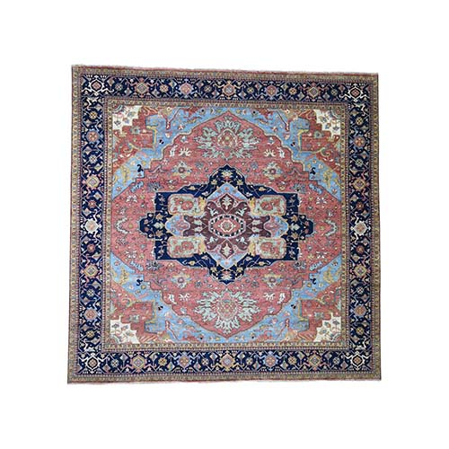 Square Antiqued Heriz Re-creation Pure Wool Hand-Knotted Oriental