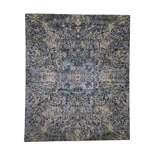 Abstract Design Wool And Silk Hand-Knotted Modern Rug