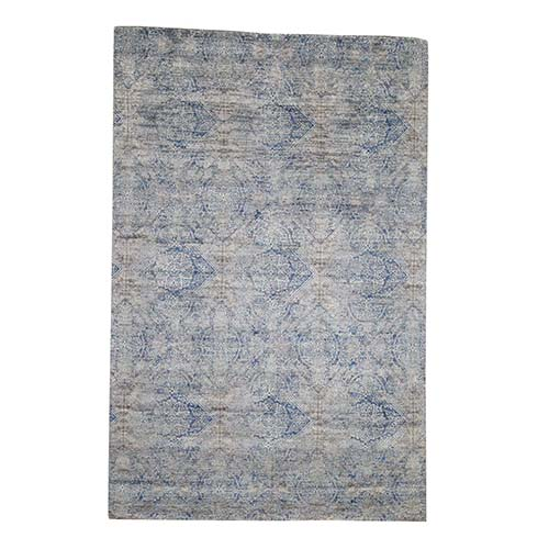 ERASED ROSSETS,Silk With Oxidized Wool Denim Blue Hand-Knotted Oriental