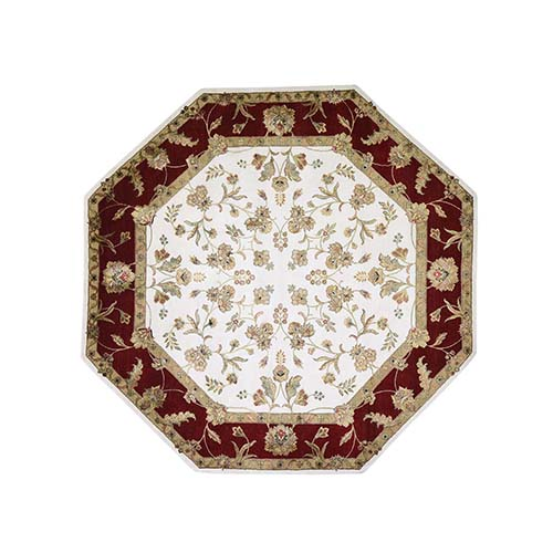 Octagonal Rajasthan Half Wool And Half Silk Hand-Knotted Oriental Rug