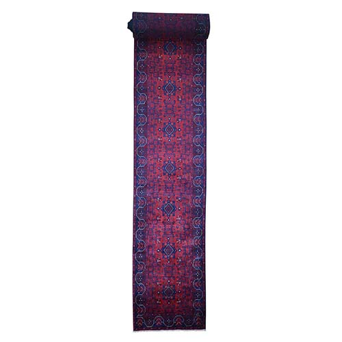 Afghan Khamyab Silky Wool XL Runner Hand-Knotted Oriental
