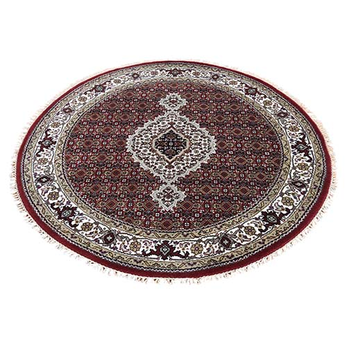 Wool And Silk Tabriz Mahi Design Round Hand-Knotted Oriental
