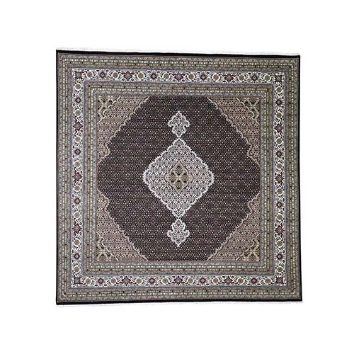 Tabriz Mahi Wool and Silk Square Hand-Knotted Oriental Rug