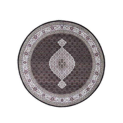 Round Hand Knotted Wool and Silk Black Tabriz Mahi Oriental Rug