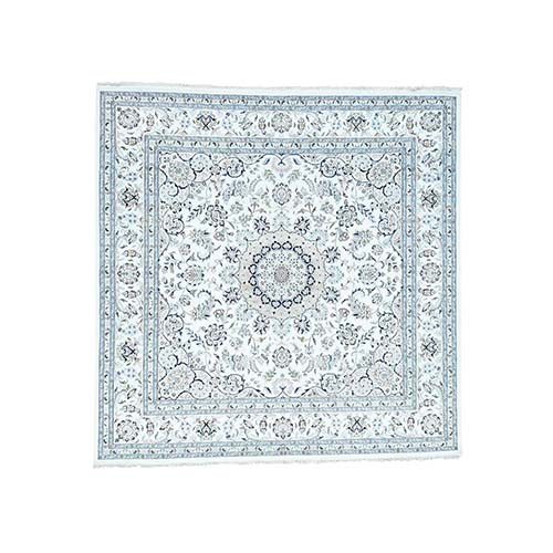 Wool And Silk 250 Kpsi Ivory Nain Hand-Knotted Square Oriental Rug