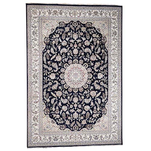 Wool And Silk 250 KPSI Navy Nain Hand-Knotted Oriental Rug