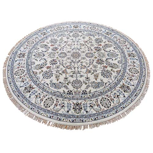 Wool And Silk 250 KPSI Ivory Nain Hand-Knotted Oriental Round