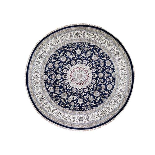 Wool And Silk 250 KPSI Navy Nain Hand-Knotted Oriental Round Rug