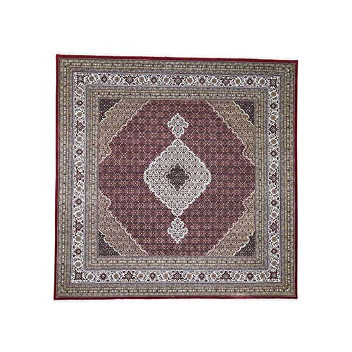 Red Tabriz Mahi Square Wool and Silk Hand Knotted Oriental