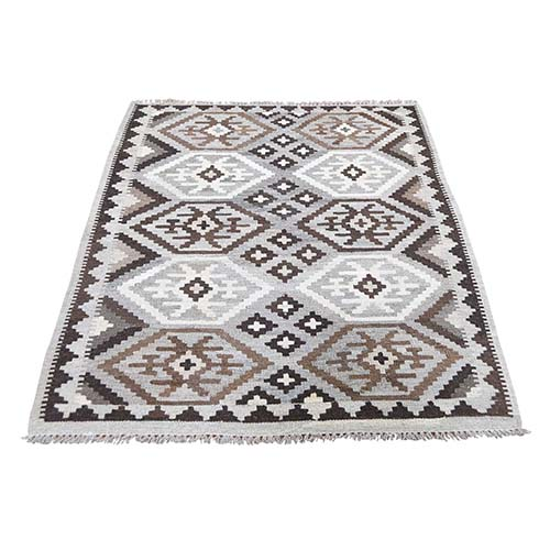 Undyed Natural Wool Afghan Kilim Reversible Hand Woven Oriental