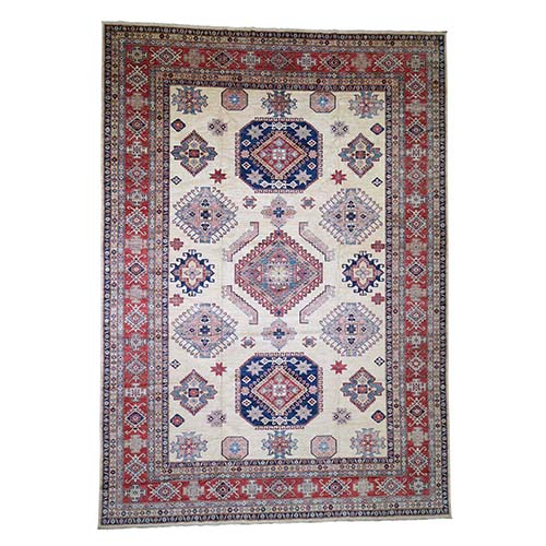 Oversize Ivory Super Kazak Pure Wool Hand Knotted Oriental