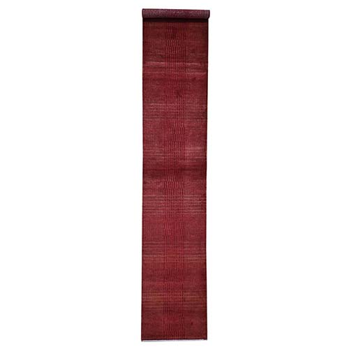 Hand-Knotted Wool and Silk Tone-on-Tone Red Nepali Runner Oriental