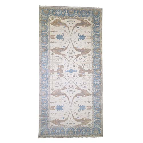 Ivory Oushak Gallery Size Pure Wool Hand-Knotted Oriental
