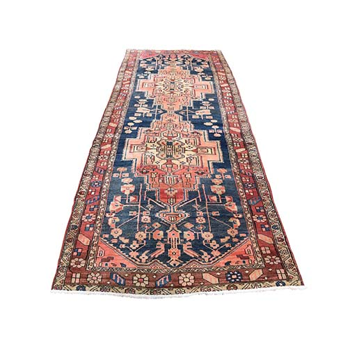 Vintage Persian Heriz Pure Wool Hand-Knotted Wide Runner Oriental