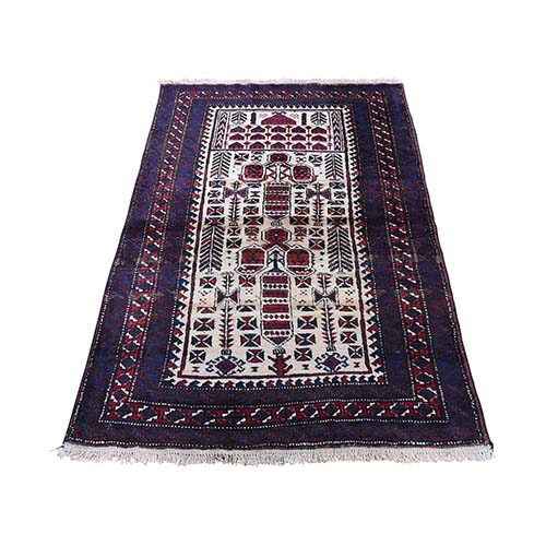 Vintage Persian Baluch Pure Wool hand-Knotted Oriental