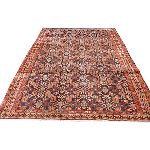 Orange Vintage North West Persian With Fish Design  Wide Runner Hand-Knotted Oriental