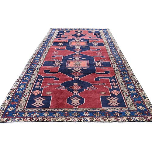 Red North West Persian With Large Elements Wide Runner Hand-Knotted Oriental