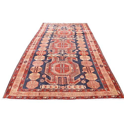 Red Vintage North West Persian Pure Wool Wide Runner Hand-Knotted Oriental