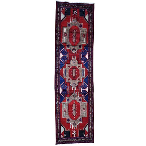 Geometric Red Vintage Persian Hamadan Wide Runner Pure Wool Hand-Knotted Oriental