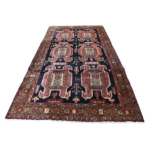 Navy Vintage North West Persian Pure Wool Wide Runner Hand-Knotted Oriental