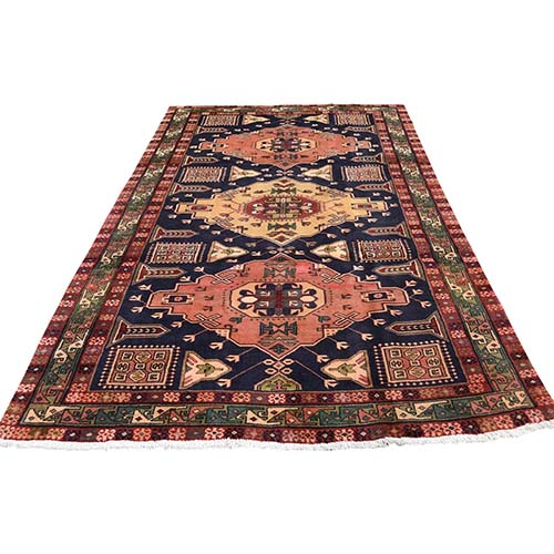 Navy Blue Vintage North West Persian Bohemian Wide Runner Pure Wool Hand-Knotted Oriental