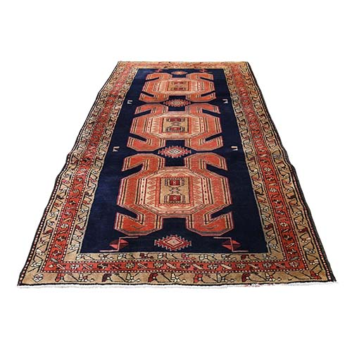 Red North West Persian With Large & Bold Elements Wide Runner Hand-Knotted Oriental